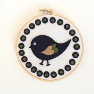 Navy Green Bird Small Wool Blend Felt Nursery Hoop Art