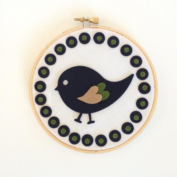 Navy Green Bird Small Wool Blend Felt Nursery Hoop Art
