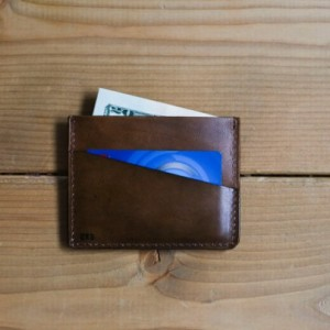 Minimalist Wallet, Leather Wallet, Mens Anniversary Gift (Light Brown Color)