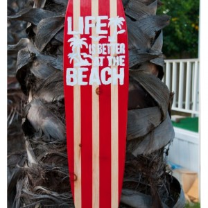 Life is Better at the Beach 2 - Beach Decor - Hanging Surfboard Sign