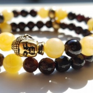 Golden Buddha Stacked Bracelet Set - Garnet & Yellow Jade - M or W