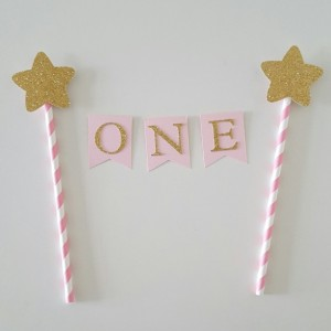 One Cake Topper, Twinkle twinkle little star cake topper, star cake topper, pink and gold cake topper, smash cake topper