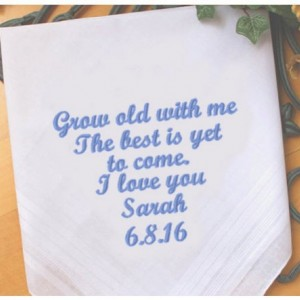 Embroidered Groom Bride Handkerchief, Customized personalised personalized Hankies Wedding Gift