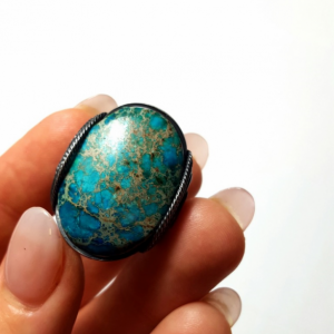 Handmade Statement Ring, Size 6 - 7 Turquoise Blue Ox SS