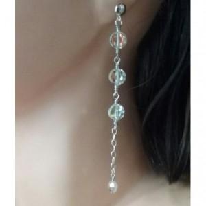 Sterling Silver Swarovski Disc Bridal, Wedding Earrings