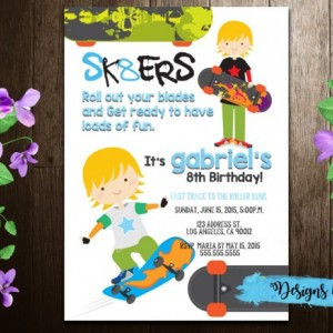 Boy/Girl Skate Boarding Birthday Invitation Printable