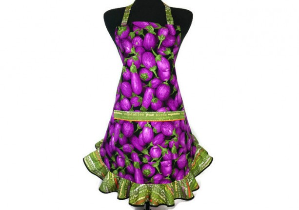 Eggplant Apron for Women, Purple with Green Ruffle, Retro Kitchen decor, Aubergine
