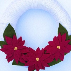 Holiday Wrapped Poinsettia Wreath