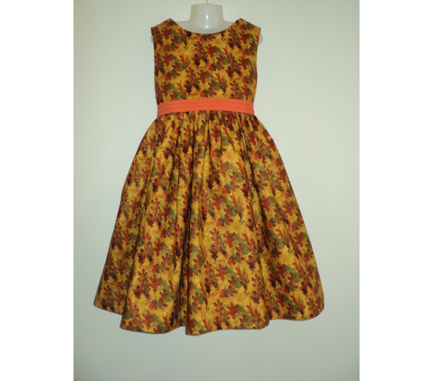 NEW Handmade Fall/Autumn Leaves Sparkle Dress Custom Size 12M-14Yrs