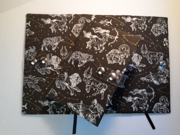 Read E-Z book cover/holder in Astrological fabric