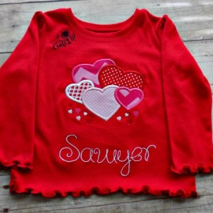 Valentines Day Girls Tshirt, Toddlers, Infants,Lots of Hearts,  Personalized, Embroidered, Appliqued