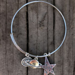 Star and Saturn Galaxy Bangle Charm Bracelet - Space Jewelry - Planet Bracelet