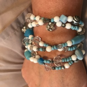 Handmade Multi Strand Beaded Bracelet Turquiose White Onyx Crystal