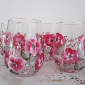 Wine Glasses Stemless Impatiens hand painted