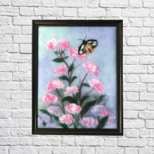 """Wool Painting """"Butterfly in flowers"""""""