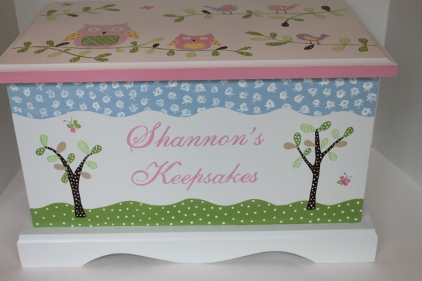 Keepsake chest memory box personalized - PB Owls and birds baby gift