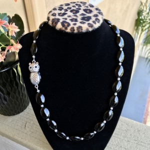Agate Statement Necklace, Black Agate Chunky Necklace, Black Agate Beaded Necklace, Gemstone Necklace, Black Necklace, Silver Necklace