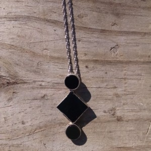 Black onyx set in handcrafted sterling silver necklace.