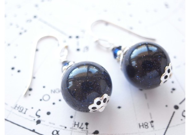 Earrings Dark Navy Color Starry Sky Beads Galaxy Space Blue Goldstone Jewelry Drop Dangle Accessory Silver Plated Black Blue Cosmo