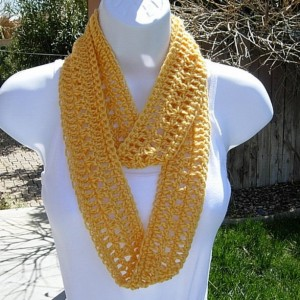 Women's Skinny Solid Yellow Soft SUMMER INFINITY SCARF Handmade Crochet Knit Cowl Lacy Lightweight Small Loop Scarf, Ready to Ship in 3 Days