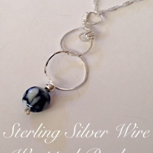 Sterling Silver Mother of Pearl Resin Wire Wrapped Circle Pendant
