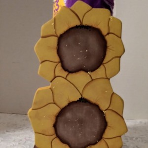 """Paper Towel Holder Sunflower Décor Kitchen accent's Yellow & Brown  11"""" tall"""