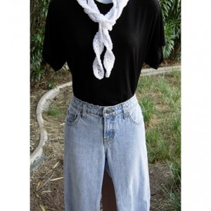 Solid White Skinny SUMMER SCARF Small 100% Cotton Spiral Crochet Knit Narrow Lightweight Warm Weather Women's Scarf, Ready to Ship in 2 Days
