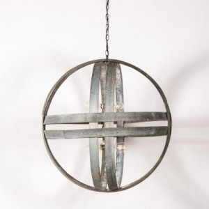 ATOM Collection - XL Cyclopean- Wine Barrel Double Ring Chandelier / made from salvaged CA wine barrel rings  -  100% Recycled!