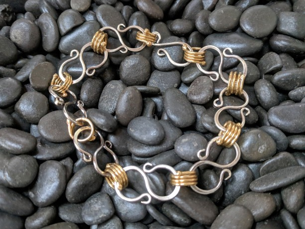 Silver and Brass Bracelet - scroll link bracelet - infinity links - unique jewelry