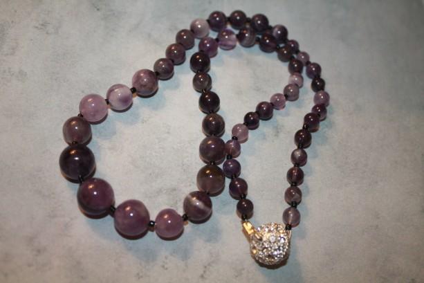 Purple Graduating Amethyst Rounds Necklace