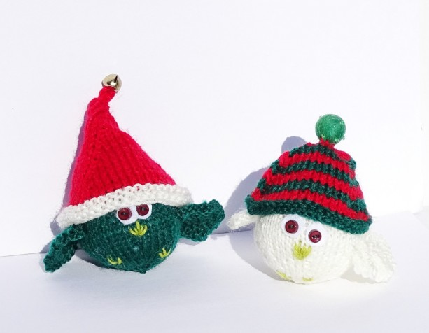 Hand Knitted Christmas Decoration, Festive Birds, Knitted Tree Ornaments, Ready to Ship, Knit Xmas, Knitted Birds Decorations, Handmade