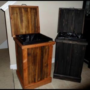 Rustic 30 Gallon Wood Trash Can