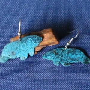 Copper Patina Manatee Earrings