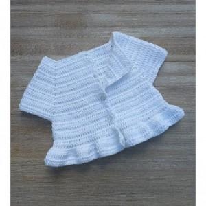 Crochet peplum white color babygirl. Crochet photo props.
