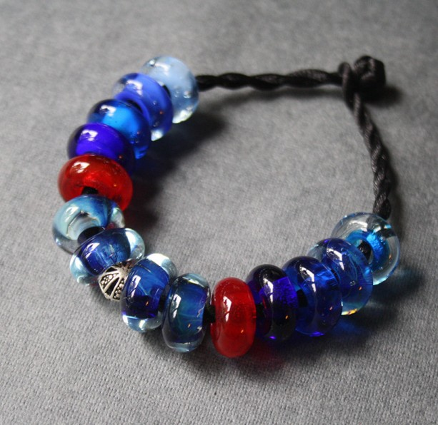 Glass Bracelet - Blue & Red Beads - Silver Bead - Stained Glass - Space Cosmic