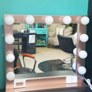 ROSE GOLD 32 X 28 Lighted Hollywood style Glamour vanity mirror