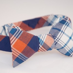 Bow Tie - Navy/White/Orange Plaid
