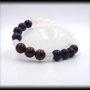 Pink Tourmaline, Amethyst, and White Jade Bracelet Bracelet