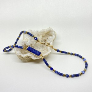 Blue heishi necklace made with sodalite gemstones