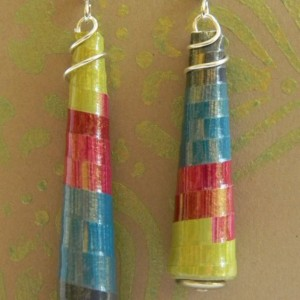 Chartreuse Sangria Teal Navy Jewel Tones Lightweight Long Dangle Cone Earrings - Eco Jewelry - Asymmetrical - 1st Anniversary