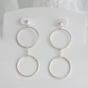 Sterling Silver Hammered Circle, Chain Earrings
