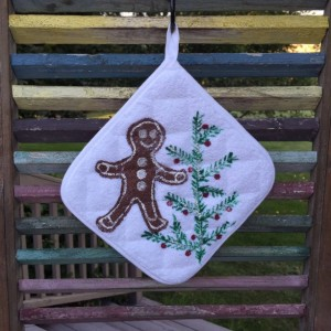 Gingerbread man kitchen pot holders set of 2, hostess gift, baking gift, best selling items, mom gift, Christmas gift from daughter
