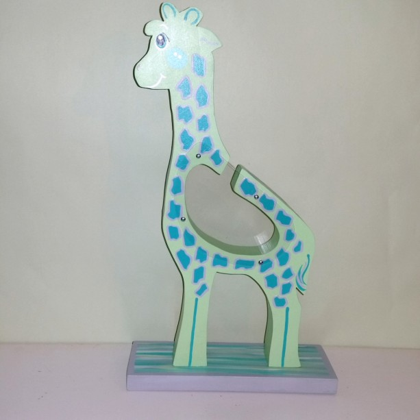Green Personalized Wooden Giraffe  Money Bank 17 inches tall.