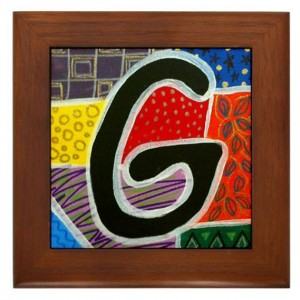 "Folk Art - Letter ""G"" - FRAMED TILE By Artist A.V.Aposte"