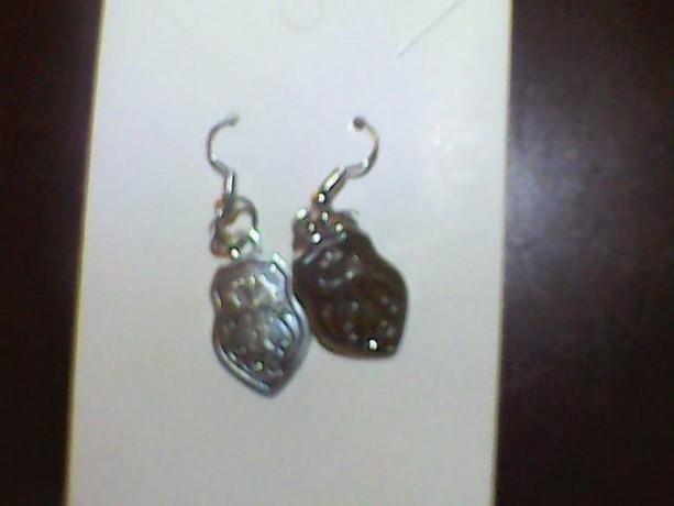 Homemade Cross Silver colored earrings. Religious Earrings.