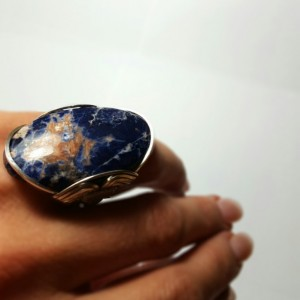 Sodalite Statement Ring, Handmade Size 9 - 10 Sterling Silver