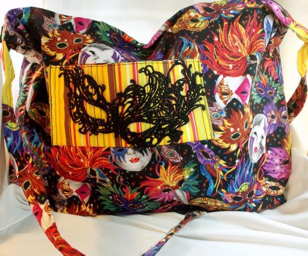 Masquerade Collection Large Zipper Tote - Mask Mardi Gras print - multicolor