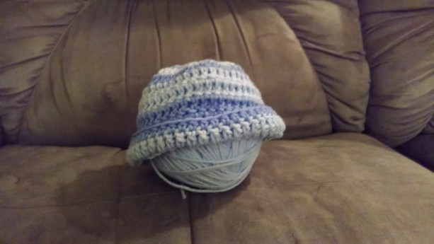 Crocheted Baby Hat Baby Gift Blue Stripes Baby Hat
