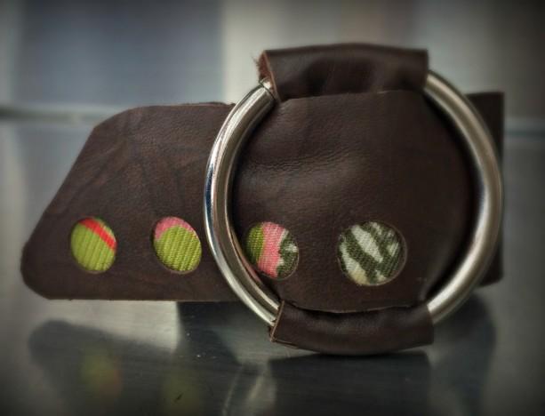 Leather Wrap Cuff with Silver O Ring (Medium)