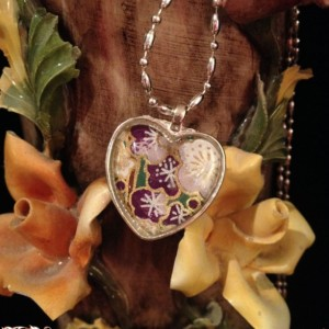"""""""Papers"""" Chiyogami 075 Silver Heart Pendant"""